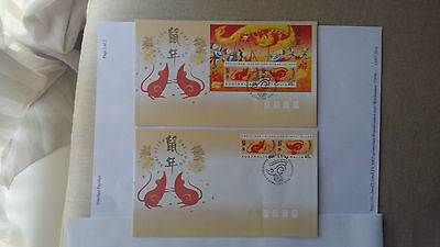 Christmas Island 1996 - 2 FDC's - Year of the Rat