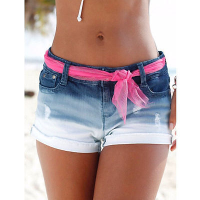 Women Low Waisted Washed Ripped Hole Short Mini Shorts Jeans Denim Pants Jeans