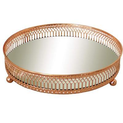 Mirror Glass Metal Antique Decorative Copper Candle Plate Display Tray 20cm New