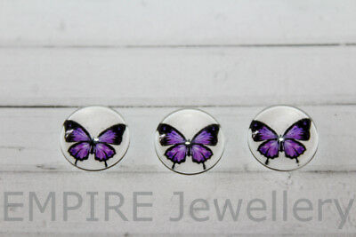 2 x Purple Butterfly 12x12mm Glass Cabochons Cameo Dome Insect Vintage