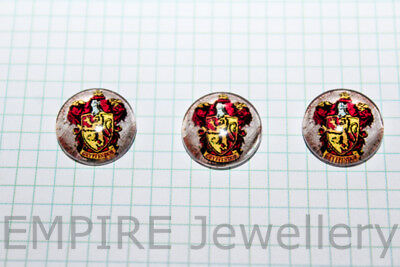 2 x Harry Potter Gryffindor Badge 12x12mm Glass Cabochons Cameo Dome Hogwarts