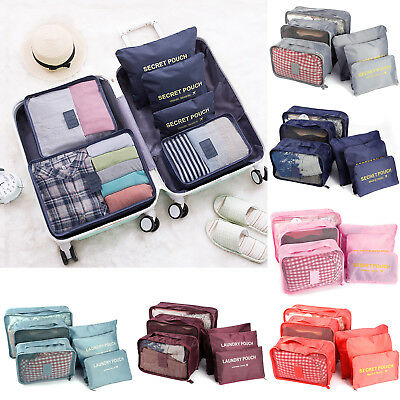 Travel Essential Packing Cubes Set of 6 Luggage Organisers Suitcase Storage Bag
