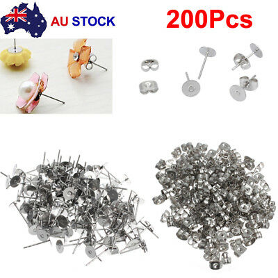 100Pair Earring Stud Posts 4/6/8mm Pads & Nut Backs Silvery Surgical Steel DIY T
