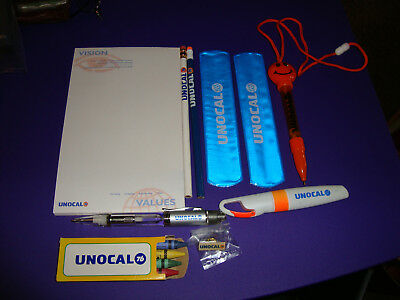 Very Rare UNOCAL UNION 76 COLLECTIBLES Bracelets Pens Pencils Tablet Crayons Pin