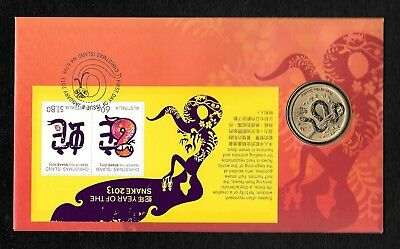 """2013 Christmas Island """" Year Of The Snake """" Pnc With Special Released $1 Coin"""