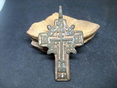 Ancient bronze cross with enamels 15-17 century