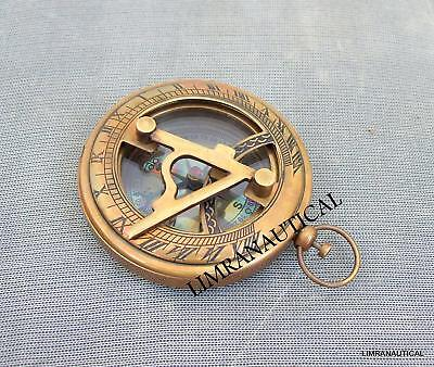 Sundial Compass Brass Wedding Gift Push Button Nautical Antique Birthday Gift