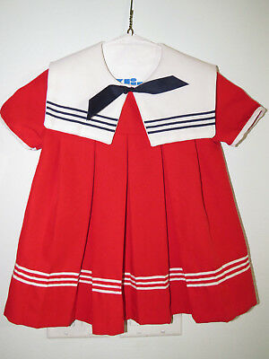 Vintage Girls Sailor Dress Red White with Blue Bow Nautical Toddler Size 4