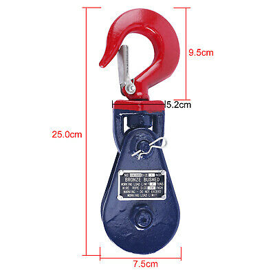 2 Ton Snatch Block w/ Swivel Hook Wire Rope Sheave Tow Shackle Clevis Tree Sling