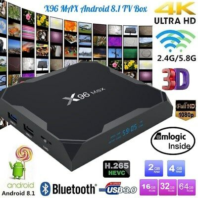 X96 MAX Android8.1 Quad-Core Amlogic S905X2 Smart TV Box 4K WiFi HD Media Player