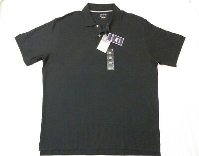 New IZOD Mens Polo Style Golf Shirt Black 100% PIMA Cotton USA size XXL 2X SS