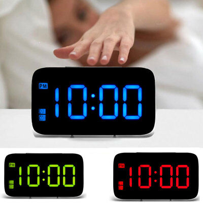 "Large LED Digital Alarm Snooze Clock Voice Control Time Display 5"" Screen"