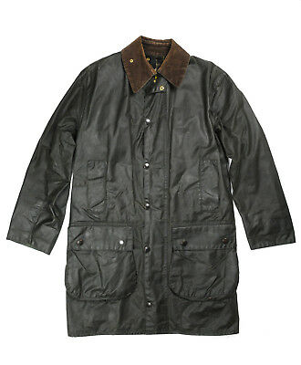 mens BARBOUR wax Jacket Border C36, used, vintage, Resently Waxed - Sage Green