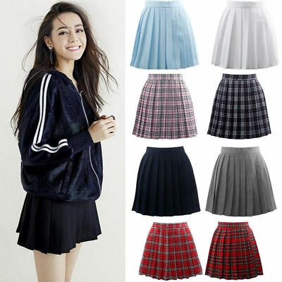 Women Plaid Checks Pleated Mini Skirt Girl Cosplay School Uniform Harajuku Dress