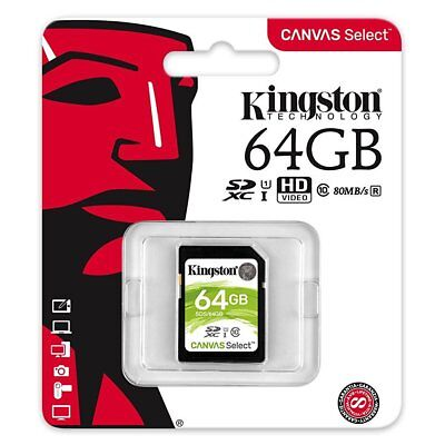 Kingston 64GB SDS/64GB SD XC SDXC Class 10 UHS-I Cartes mémoire 80MB/s
