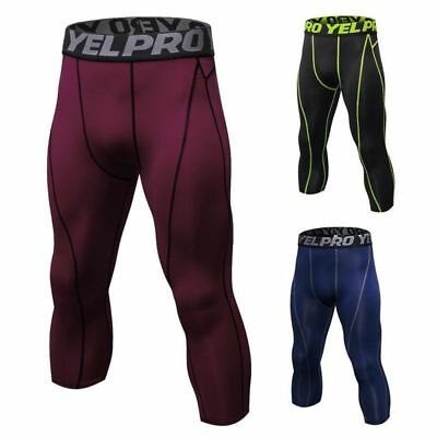 Mens Compression Pants Tights Running Base Layers Skin Workout Fitness 3/4 Pants