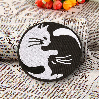 Embroidered White Cat Yin Yang Patch Sew On Iron On Badge Fabric Craft Transfer