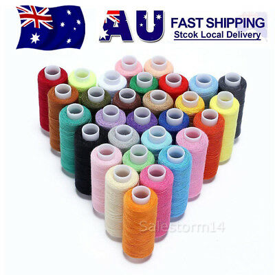 30Pcs Mixed Colors 100% Polyester Sewing Thread Machine Hand 250 Yard OZ