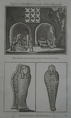 1793 antique engraving Ancient Egypt egyptian mummies sarcophagus sepulchre
