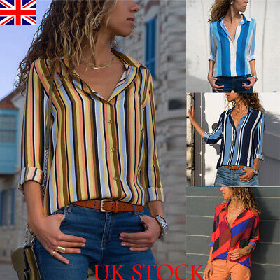 New Spring Womens Chiffon Shirt Tops Ladies Turn-Down Collar Blouse Size 6-20