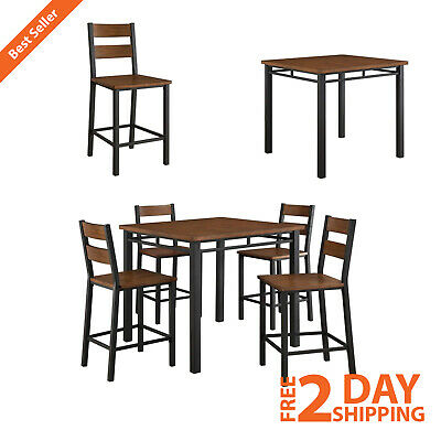5-PIECE MODERN COUNTER Height Dining Set Vintage Wood ...