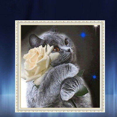 DIY Cross Stitch Full Square Diamond Painting Embroidery Cat and Flower ONE