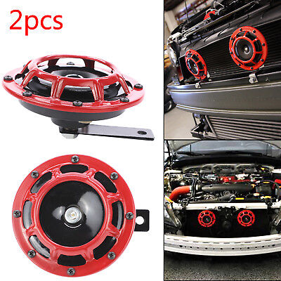 2X Red 12V 139dB Dual Car Grille Horn Compact Super Tone Loud  118 139Db