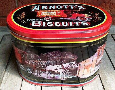 Vintage Retro Arnotts Biscuit Tin Large Oval Metal Cookie Storage Container