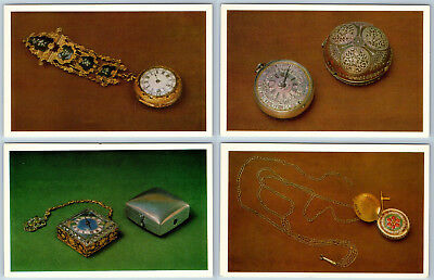 Antique Clocks and Watches from Museum Kremlin. USSR Postcard RARE Set 16 PC LOT