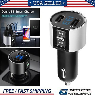Wireless Bluetooth In-Car FM Transmitter MP3 Radio Adapter Car Kit USB Charger
