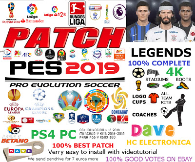 Option File Pes 2019 Parche Ps4 Ps3 Xbox Pc 4K Complete Konami 2.0 Original