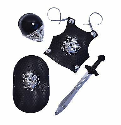 Child Black Knight Armour Set Medieval Weapon Kit Boys Fancy Dress Accessory New