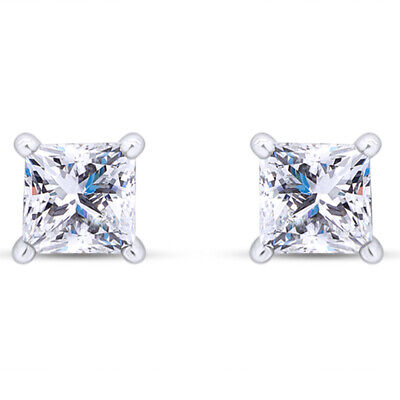 2 Ct Princess Cut Stud Earrings With Screw Back 14K Gold Ideal