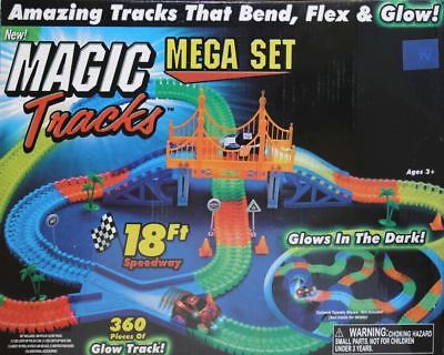 18Ft 360 Pieces Magic Tracks Glow in the Dark 3 Led Lights up Race Car Bend Flex