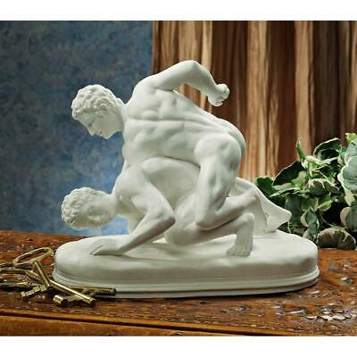 "9"" Classic Nude Greek Wrestlers Bonded Marble Statue Sculpture"