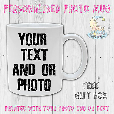 Personalised Text Photo Name Mug Birthday Fathers Mothers Valentines Printed Cup