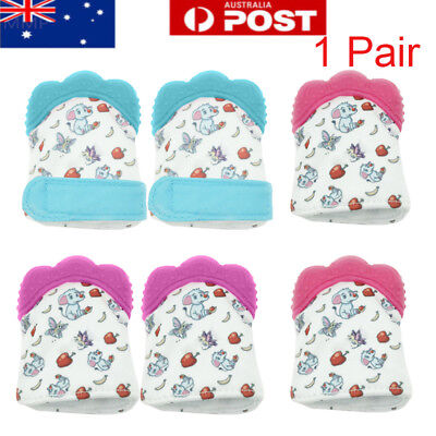 2X Baby Silicone Mitt Teething Mitten Teething Glove Candy Wrapper Sound Teether