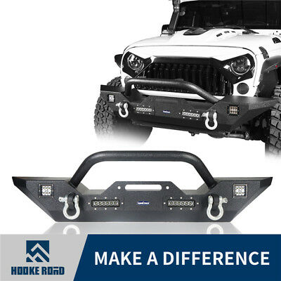 Hooke Road Rock Crawler Front Bumper w/ Winch Plate For Jeep Wrangler 07-18 JK