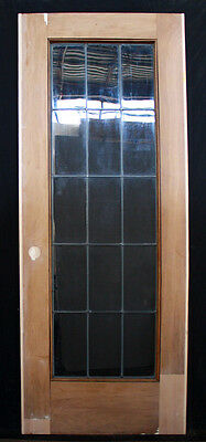 "RESTORED 30.5""x79"" Antique Interior Wooden French Door Leaded Glass Window Lite"