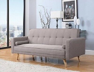 Click Clack Sofa Bed Vintage Retro Furniture Grey Fabric Couch 3 Seater Seat