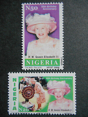 Nigeria 2006 80th Birthday of Queen Elizabeth II SG 842-3 MNH Royal Visit 2003