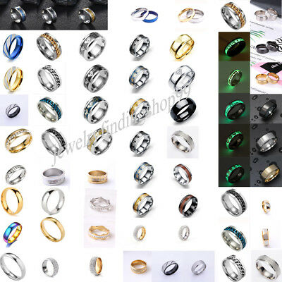 Lots Style New Real Stainless Steel Men Gothic Letter Strip Band Rings Sz 7-11