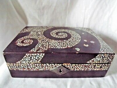 Antique Black Lacquer Box with Abalone Inlay