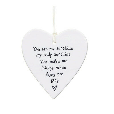 East of India,Porcelain Hanging Heart Dish You are my sunshine my only sunshine