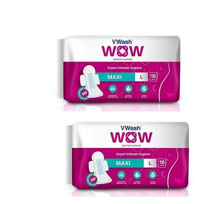 Pack Of 2 Maxi Sanitary Napkin/Pads By VWash WOW 16 Count (Large) GR