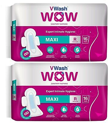 Pack Of 2 Maxi Sanitary Napkin/Pads By VWash WOW 16 Count (Regular) GR
