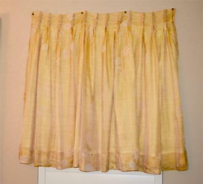 """Pair Lovely Yellow Vintage Drapes Curtains Pinch Pleat Lined 44"""" Long"""