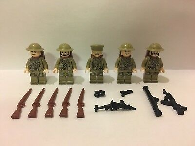 WW2 5pc British Army Soldier Minifigures + 10pc Weapons/guns Set,Free Lego Block