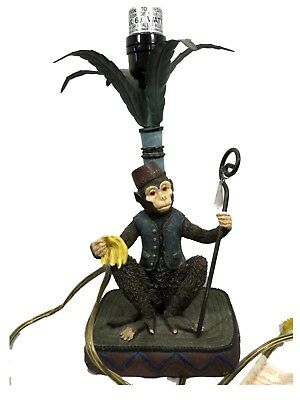 "Vintage Bellhop Monkey with Bananas & Palm  18"" Table Lamp  1999 CBK LTD Resin"