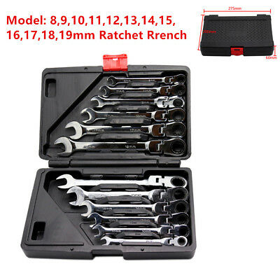 12Pcs Flexible Head Metric Ratcheting Wrench Spanner Auto Repair Tool Kit 8-19mm
